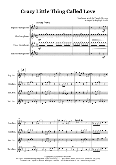 Crazy Little Thing Called Love By Queen Saxophone Quartet Satb