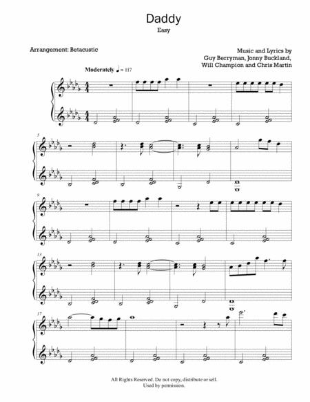 Daddy Coldplay Sheet Music Easy Piano