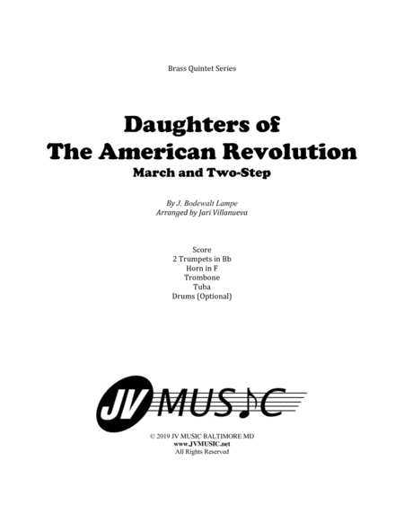 Daughters Of The American Revolution For Brass Quintet