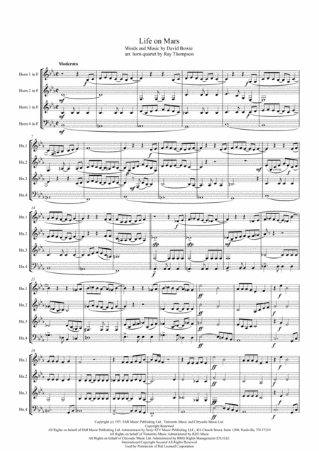 Life On Mars David Bowie Saxophone Quartet Aatb Arr Adrian ...
