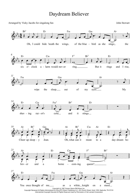 Daydream Believer Lead Sheet For Singalongs