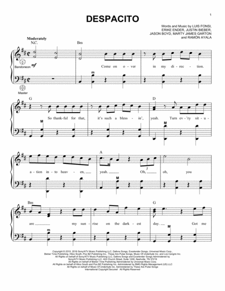 Despacito Piano Solo Free Music Sheet Musicsheets Org