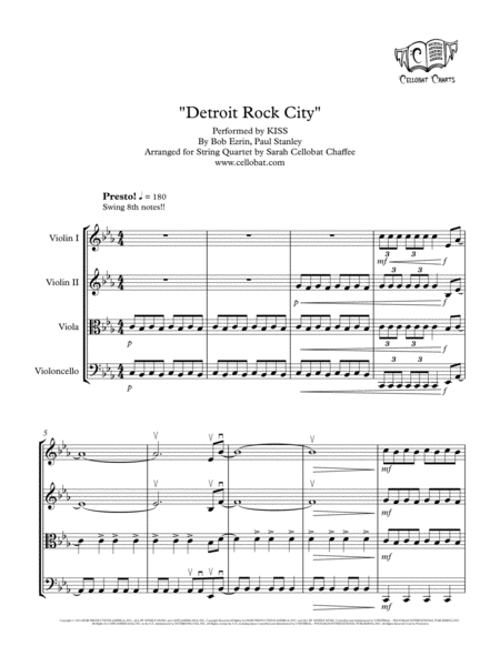 Detroit Rock City String Quartet Kiss Arr Cellobat