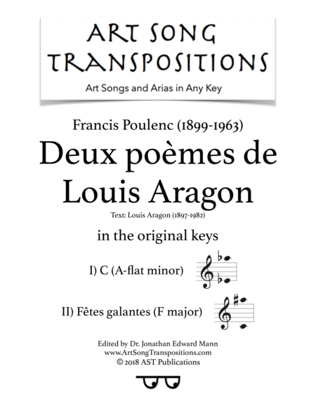 Deux Pomes De Louis Aragon Original Keys A Flat Minor F Major