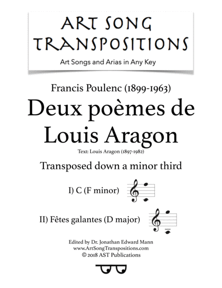 Deux Pomes De Louis Aragon Transposed Down A Minor Third F Minor D Major