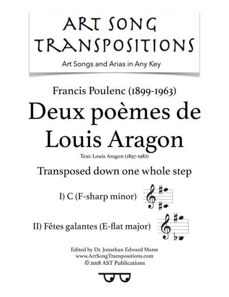 Deux Pomes De Louis Aragon Transposed Down One Whole Step F Sharp Minor E Flat Major