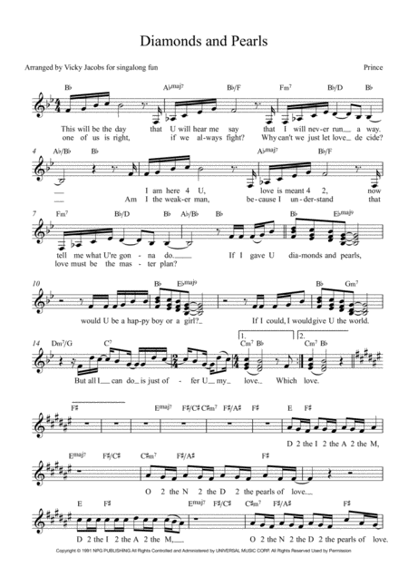 Diamonds And Pearls Lead Sheet For Singalongs