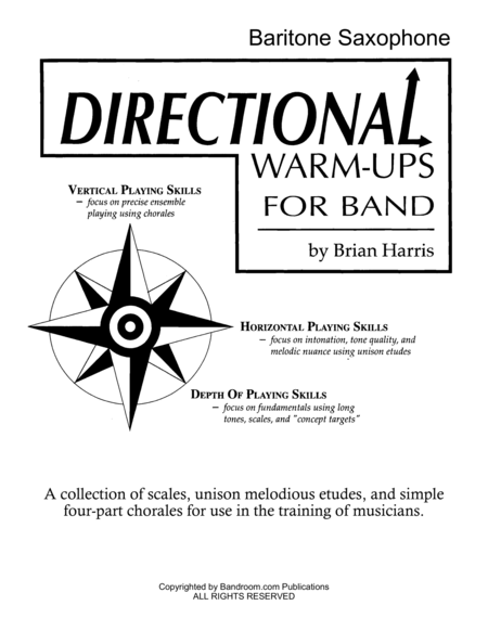 Directional Warm Ups For Band Method Book Part Book Set C Bari Sax Bass Clarinet Contra Alto Clarinet And Site License To Photocopy