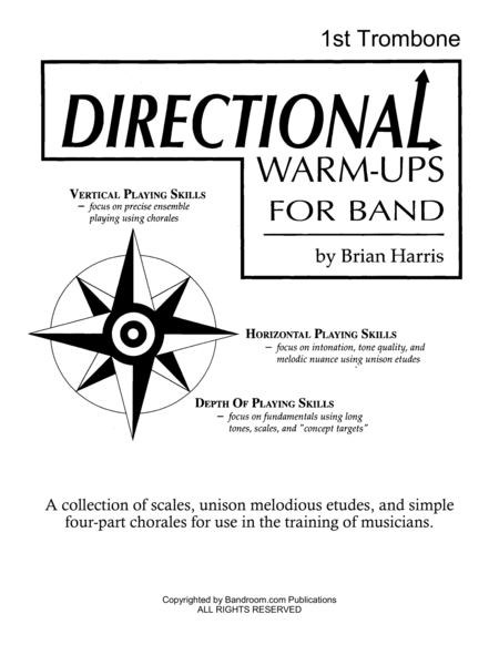 Directional Warm Ups For Band Method Book Part Book Set G Trombone 1 Trombone 2 And Site License To Photocopy