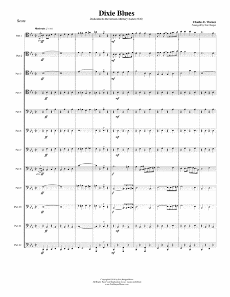 Dixie Blues For Trombone Or Low Brass Duodectet 12 Part Ensemble