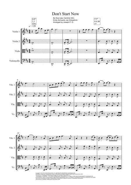 Dont Start Now Dua Lipa String Quartet Full Score And Parts