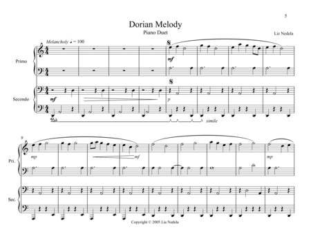 Duets On The Mode 2 Dorian Melody