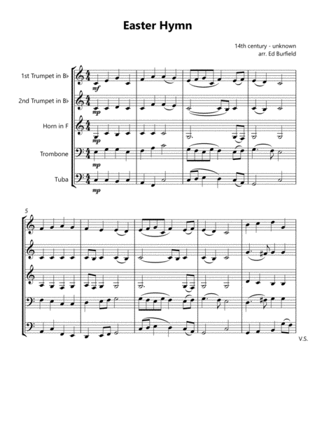 Easter Hymn Christ The Lord Is Risen Today Hymn Tune For Brass Quintet