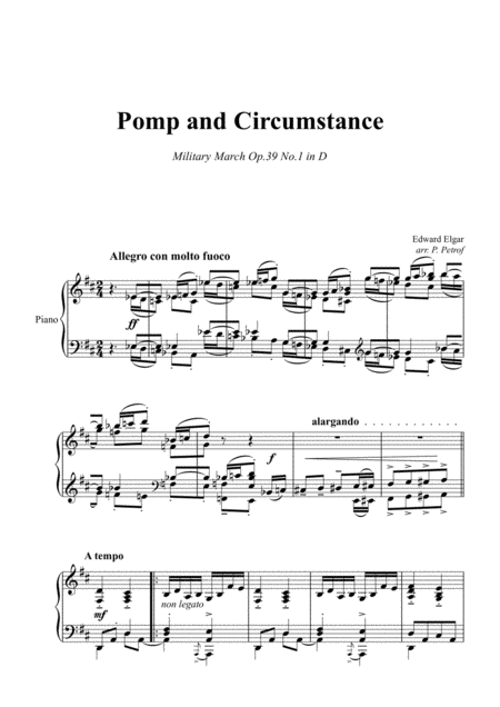 E Elgar Pomp And Circumstance March Op 39 1 Piano Solo