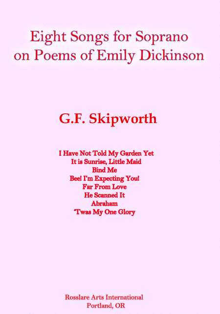 Eight Songs For Soprano On Poems Of Emily Dickinson