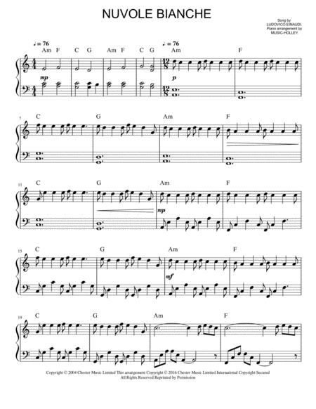 Einaudi Nuvole Bianche Easy Piano Sheet In A Minor