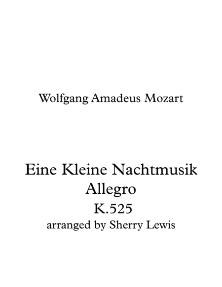 Eine Kleine Nachtmusik Allegro String Trio For String Trio Of Two Violins And Cello Or Violin Viola Cello