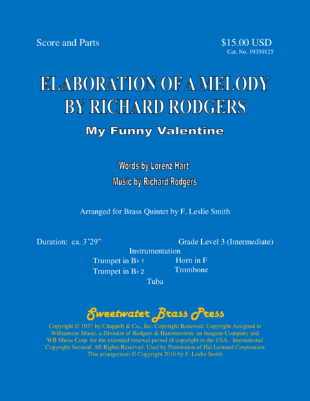 Elaboration Of Melody By Richard Rodgers My Funny Valentine