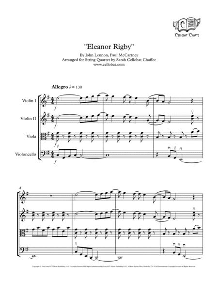 Eleanor Rigby String Quartet Beatles Arr Cellobat Recording Available