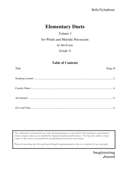 Elementary Duets Volume 1 For Bells Xylophone