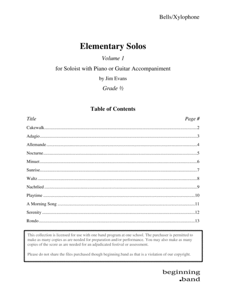 Elementary Solos Volume 1 For Bells Xylophone
