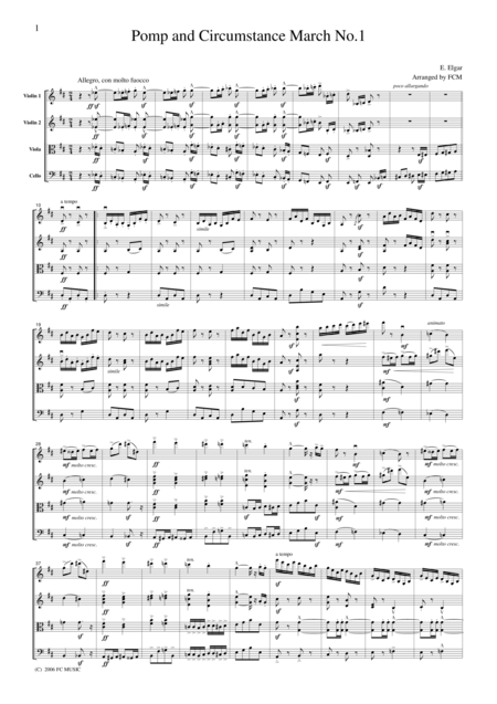 Elgar Pomp And Circumstance March No 1 For String Quartet Ce001