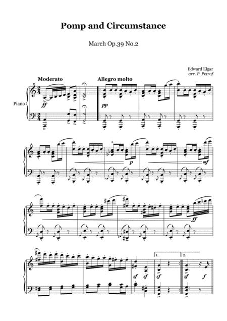 Elgar Pomp And Circumstance March Op 39 No 2 Piano Solo