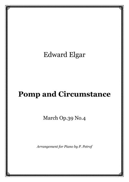 Elgar Pomp And Circumstance March Op 39 No 4 Piano Solo