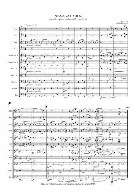 Elgar Theme And 10 Variations Including Nimrod From Enigma Variations Op 36 Wind Dectet And Bass