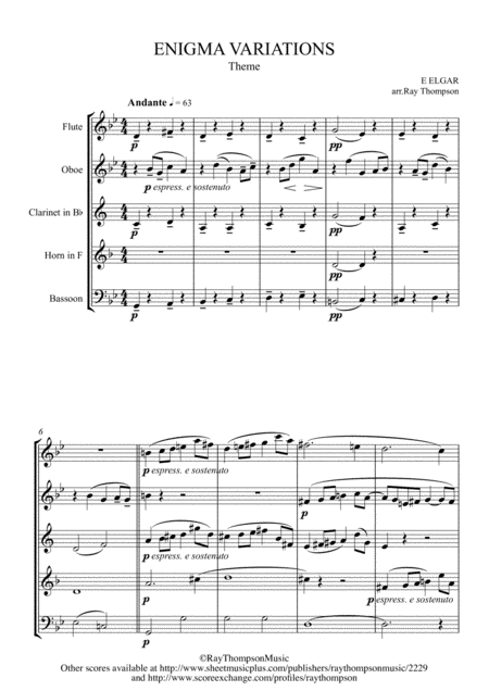 Elgar Theme And Eight Variations Including Nimrod From Enigma Variations Op 36 Wind Quintet