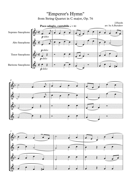 Emperors Hymn From String Quartet In C Major Op 76 Satb