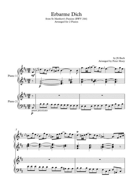 Erbarme Dich Bwv 244 From St Matthew Passion By Js Bach Arranged For 2 Pianos