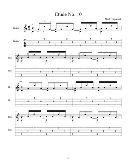 Etude No 10 For Guitar By Neal Fitzpatrick Tablature Edition