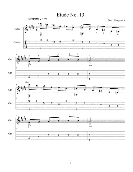 Etude No 13 For Guitar By Neal Fitzpatrick Tablature Edition
