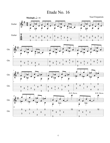 Etude No 16 For Guitar By Neal Fitzpatrick Tablature Edition