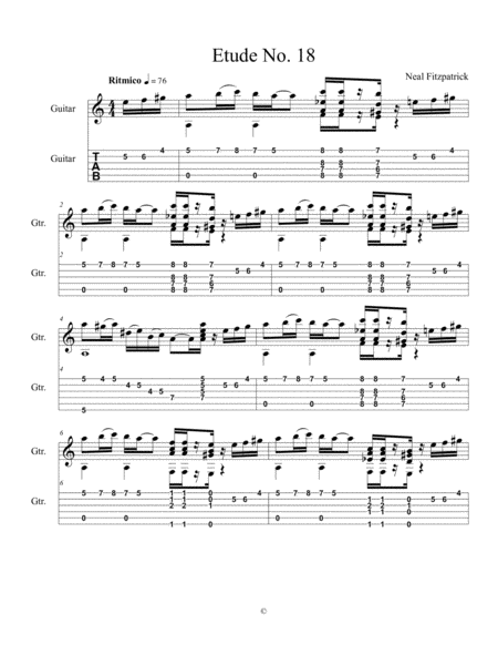 Etude No 18 For Guitar By Neal Fitzpatrick Tablature Edition