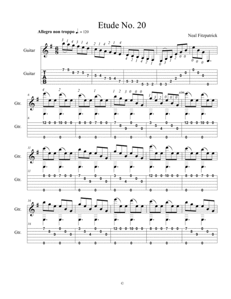 Etude No 20 For Guitar By Neal Fitzpatrick Tablature Edition