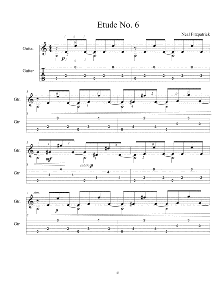 Etude No 6 For Guitar By Neal Fitzpatrick Tablature Edition