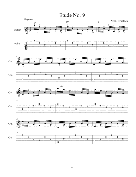 Etude No 9 For Guitar By Neal Fitzpatrick Tablature Edition
