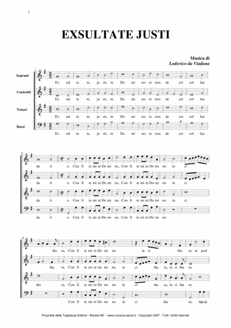 Exsultate Justi Lodovico Grossi Da Viadana Mottetto For Satb Choir