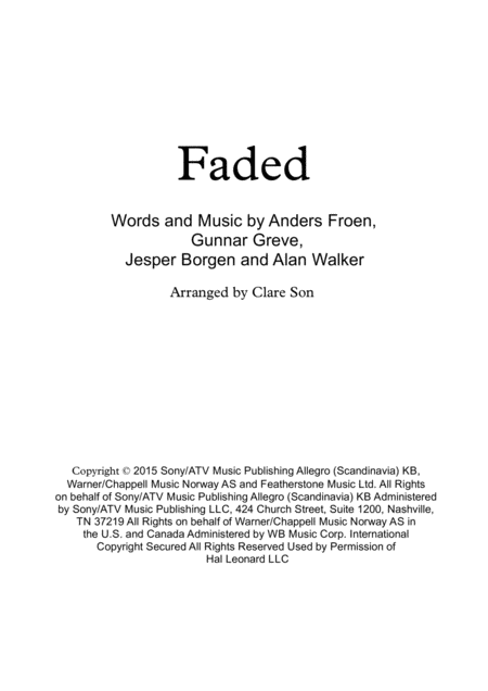 Faded By Alan Walker For Solo Perform Ukulele Guitar Flute Violin Etc