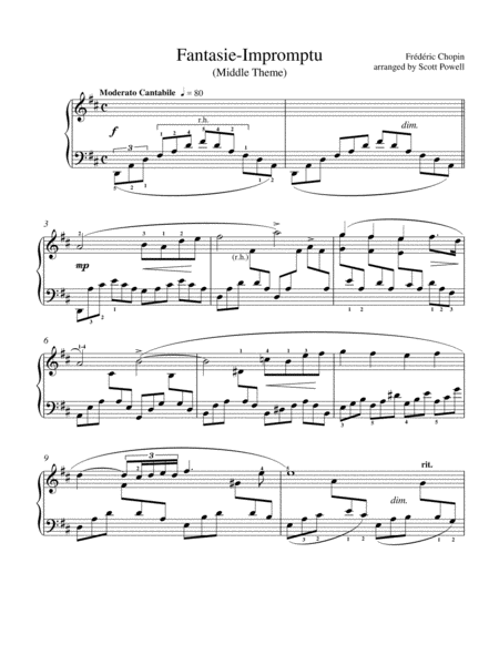 Fantasie Impromptu Slow Section For Intermediate Piano