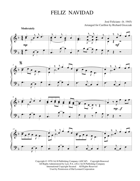 feliz navidad free music sheet musicsheets org feliz navidad free music sheet