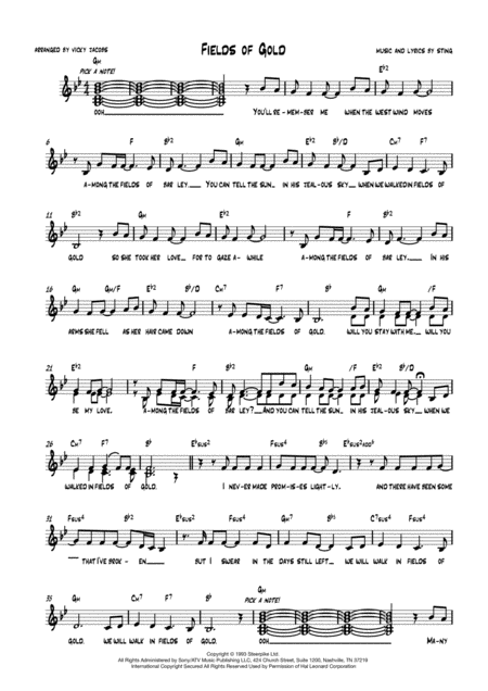 Fields Of Gold Lead Sheet For Singalongs