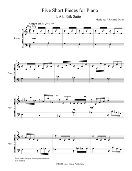 Five Short Pieces For Piano