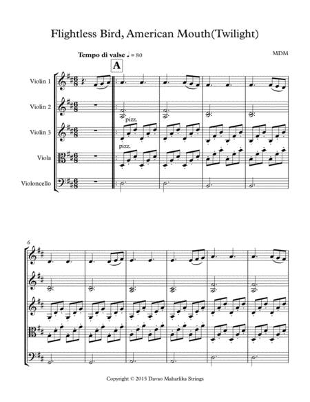 Flightless Bird By American Mouth String Quartet Score And Parts