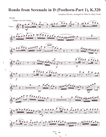Flute Quartet Arrangement Of Rondo From Serenade In D Posthorn Part 1