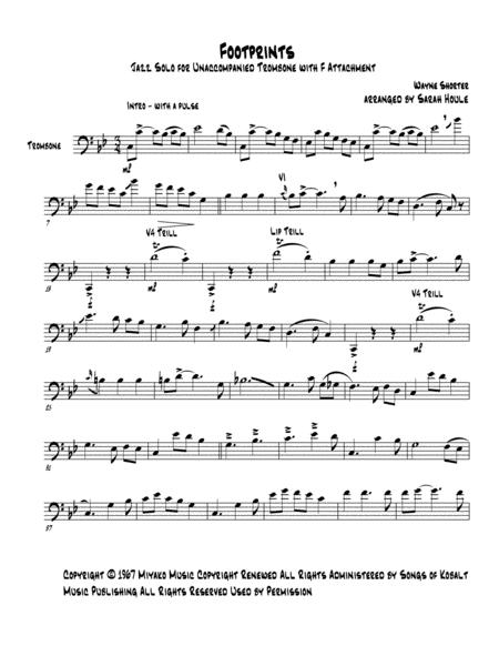 Footprints Jazz Solo For Unaccompanied Trombone With F Attachment