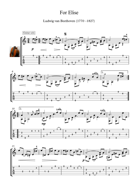 For Elise Guitar Solo With Tablature