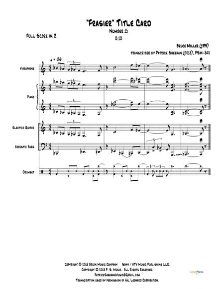 Frasier Title Card 15 For Jazz Quintet Full Score Set Of Parts